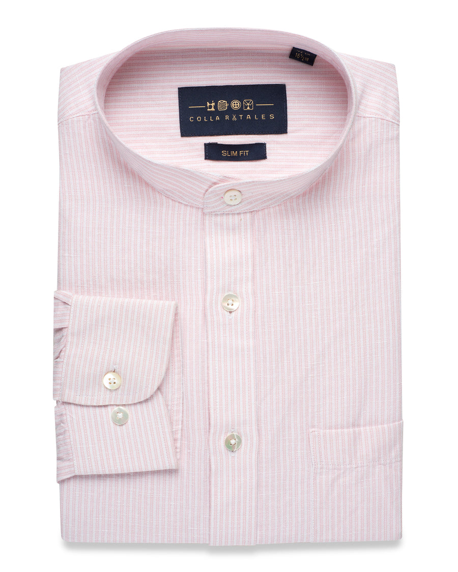 PRUSSIAN PINK & WHITE LINEN STRIPED SHIRT
