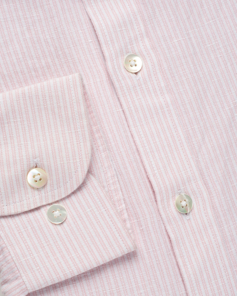 PRUSSIAN PINK & WHITE COTTON LINEN STRIPED SHIRT