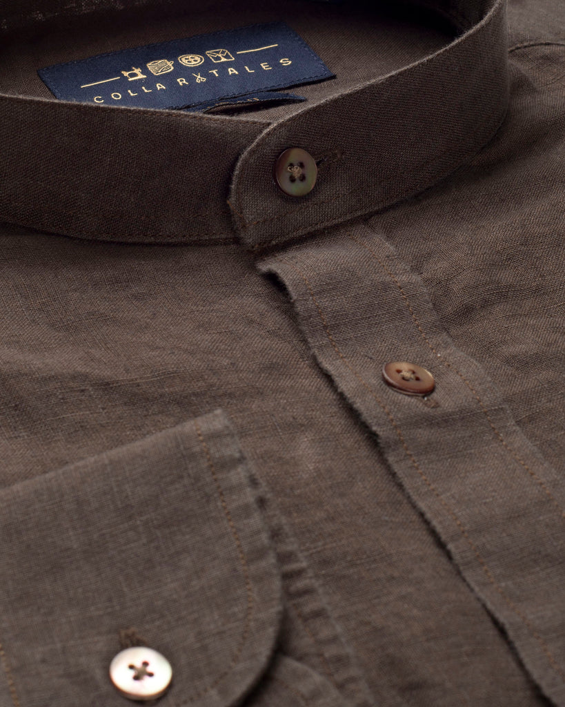 DARK BROWN LINEN SHIRT