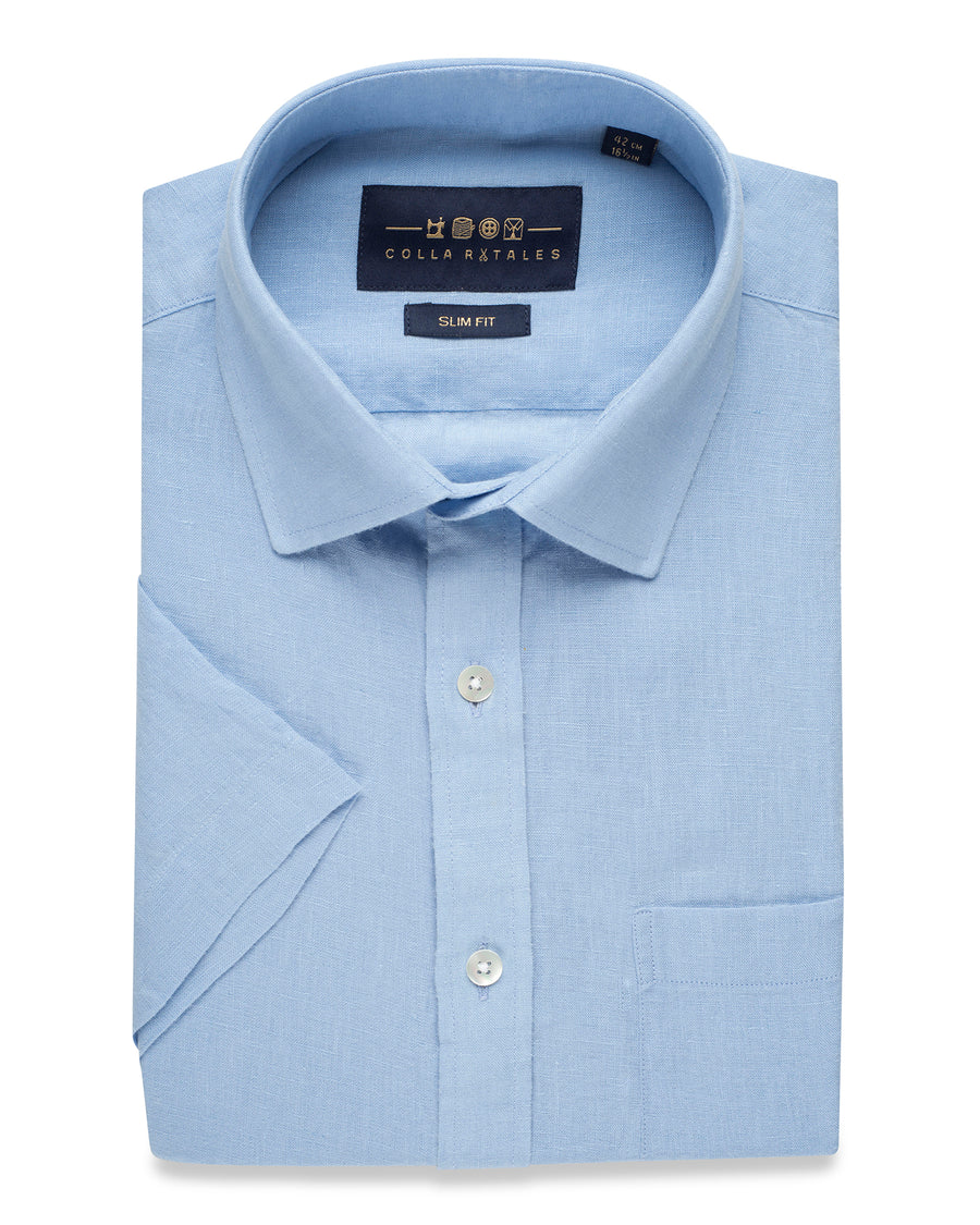 LINEN HALF SLEEVE SHIRT - BLUE