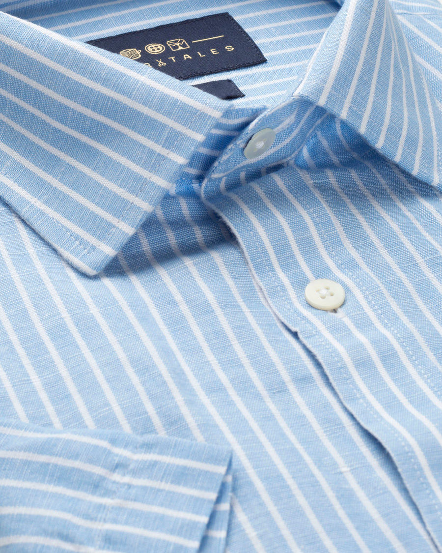 COTTON LINEN HALF SLEEVE BLUE AND WHITE STRIPED SHIRT