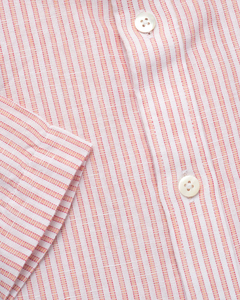 COTTON LINEN HALF SLEEVE ORANGE AND WHITE STRIPED SHIRT
