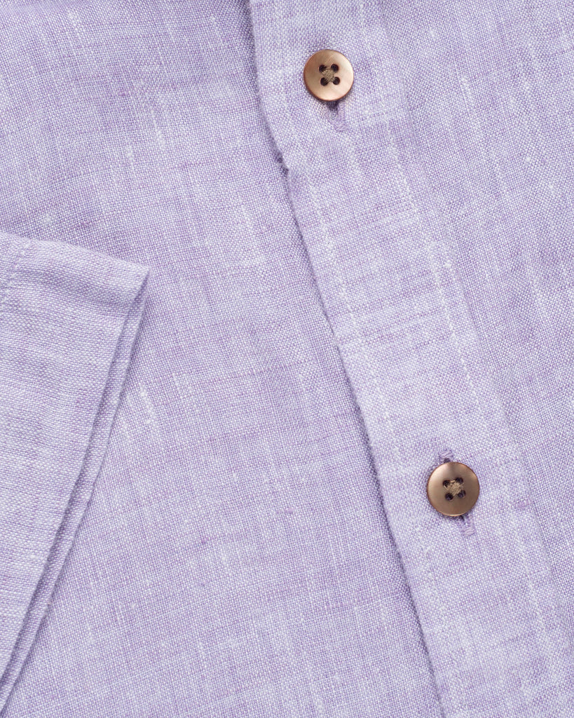 COTTON LINEN HALF SLEEVE SHIRT - PURPLE