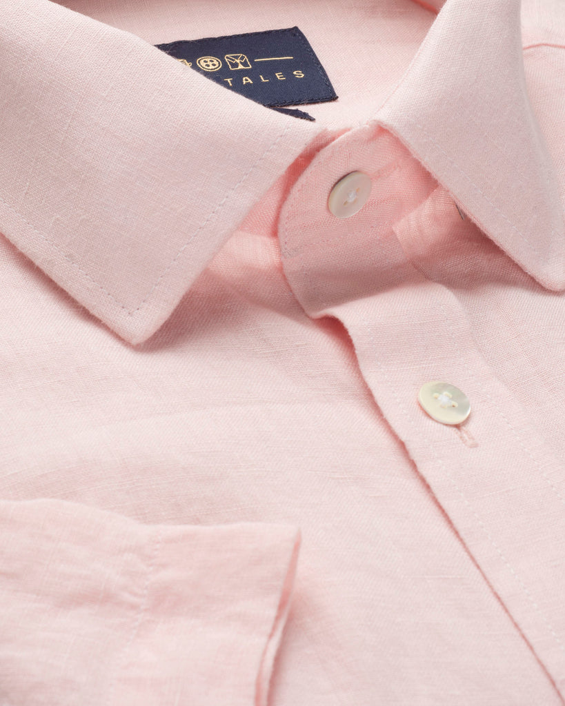 LINEN HALF SLEEVE SHIRT - PINK ( 39 Slim Only )