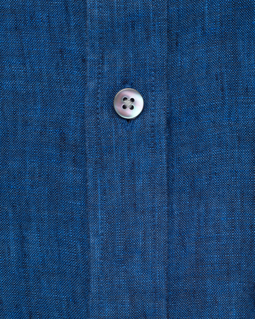 BLUE COTTON LINEN SHIRT ( 42 Slim Only )