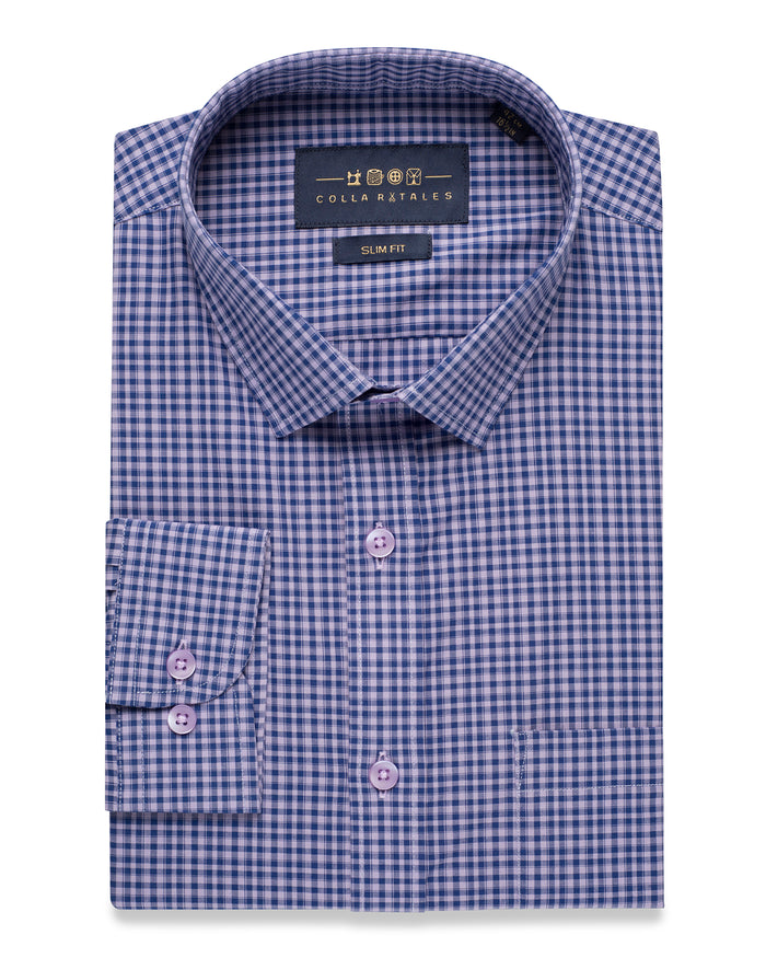 PURPLE & NAVY GINGHAM CHECK SHIRT ( 46 Regular Only )