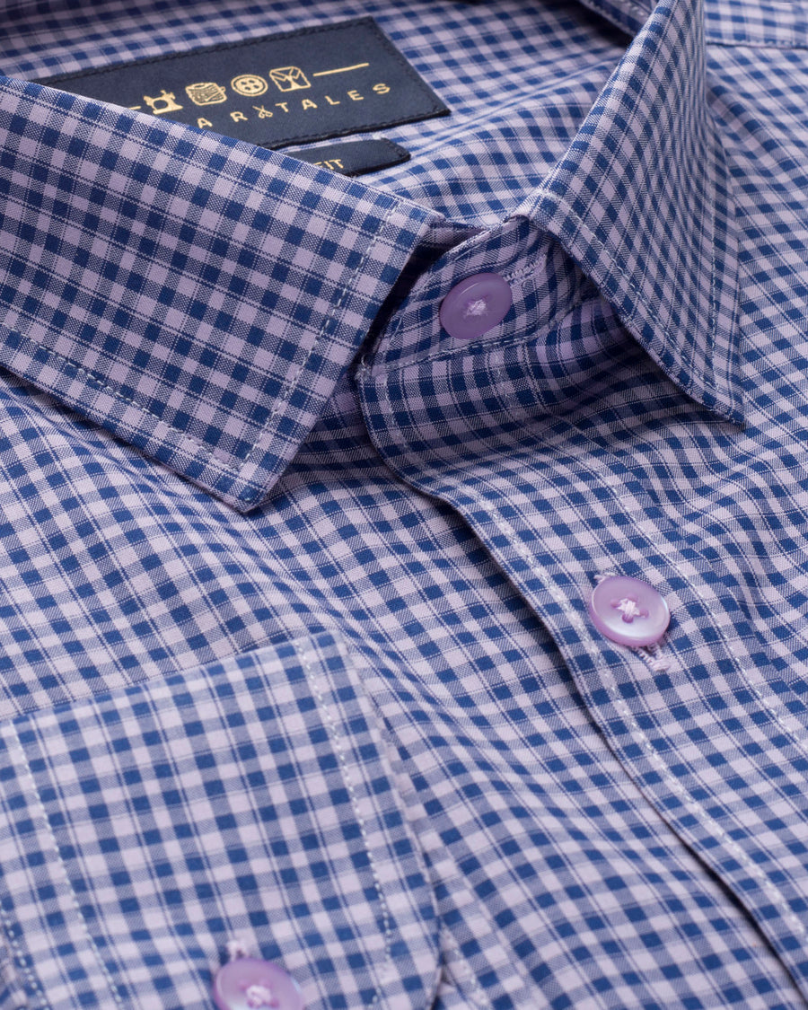PURPLE & NAVY GINGHAM CHECK SHIRT