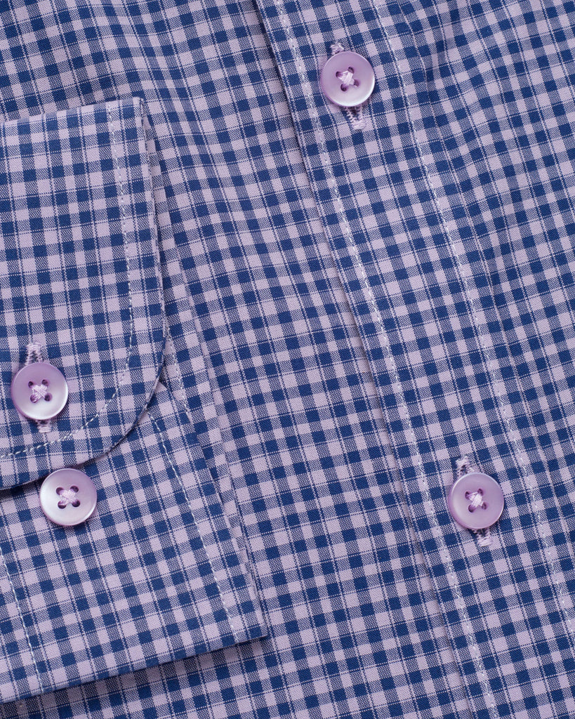 PURPLE & NAVY GINGHAM CHECK SHIRT ( 38 Slim & 46 Regular Only )