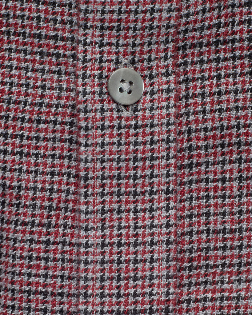 MAROON & GREY MICRO CHECK LINEN SHIRT ( 42 Slim Only)