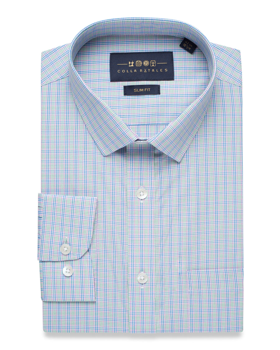 LIGHT BLUE & GREEN GINGHAM CHECK SHIRT