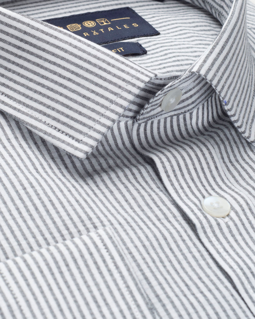 Black and White Cotton Striped Shirt