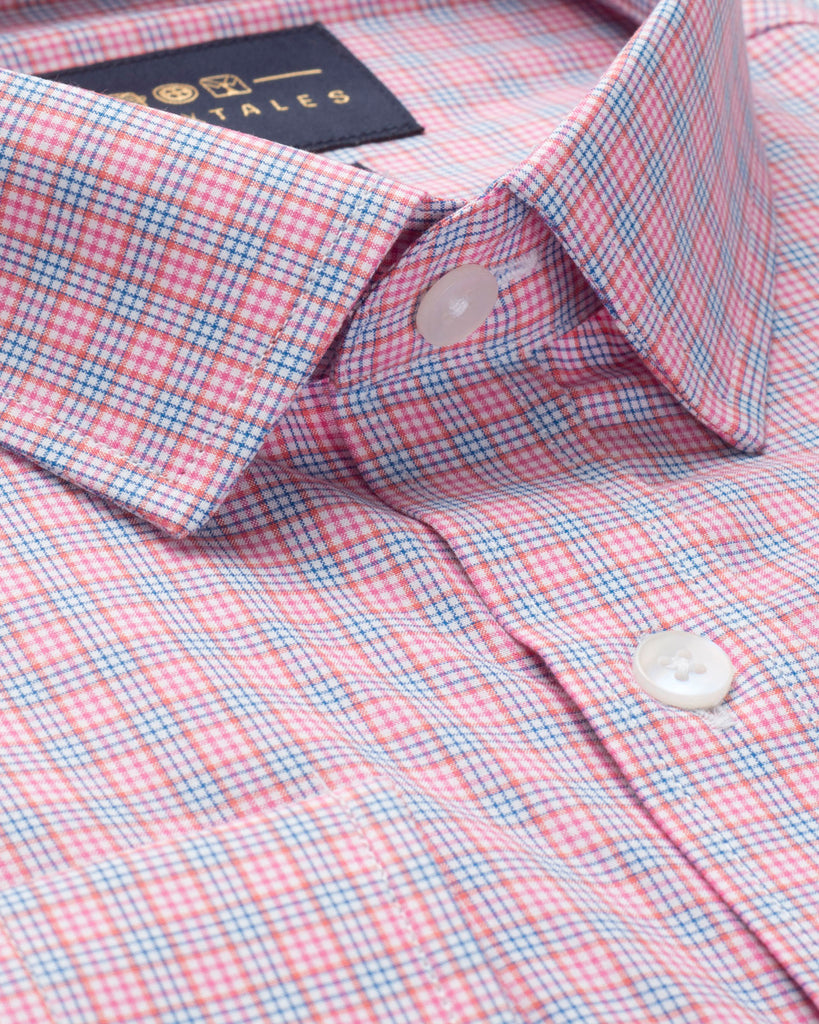 PINK & BLUE GINGHAM CHECK SHIRT ( 44 Slim Only )