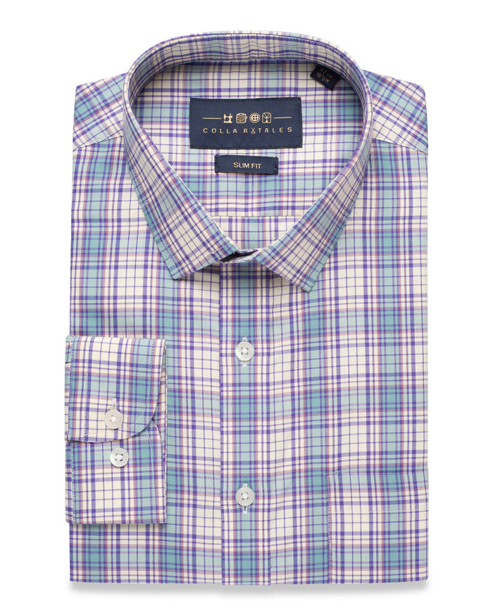 BLUE AND PURPLE TARTAN PLAID SHIRT ( 38 Slim, 44 & 46 Regular Only )