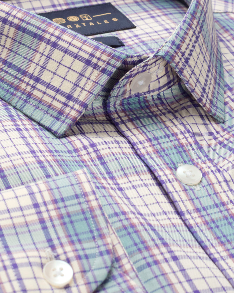 BLUE AND PURPLE TARTAN PLAID SHIRT ( 44 Regular Only )