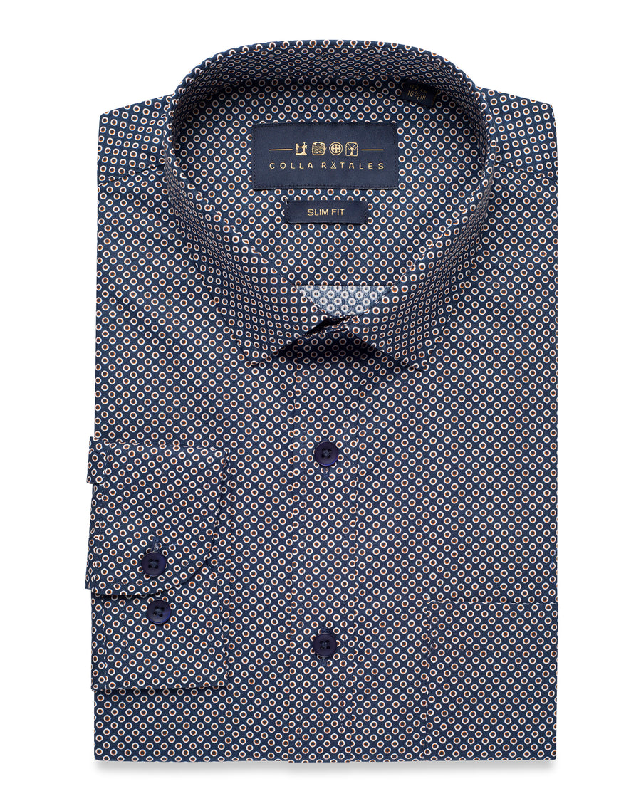 NAVY CASUAL DOTTED SHIRT