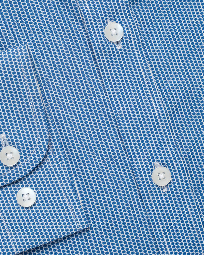 Blue Casual Dotted Shirt