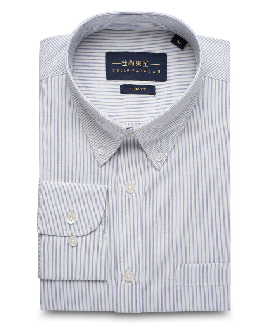 White and Blue Pin Stripe Oxford Button Down Shirt