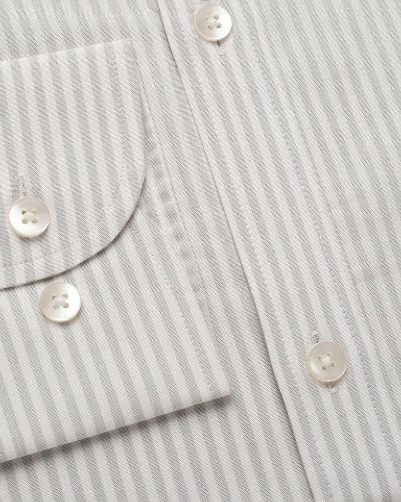 White and Light Grey Stripe Oxford Button Down Shirt