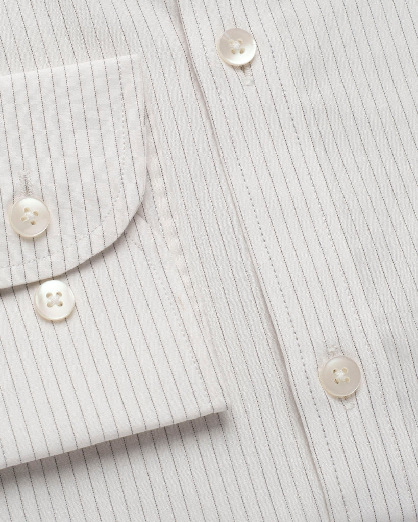 White and Dark Grey Pin Stripe Oxford Button Down Shirt