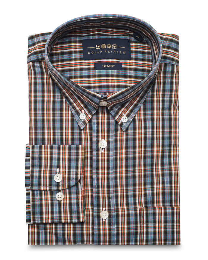 Orange and Blue Oxford Button Down Shirt ( 42 Regular Only Only )