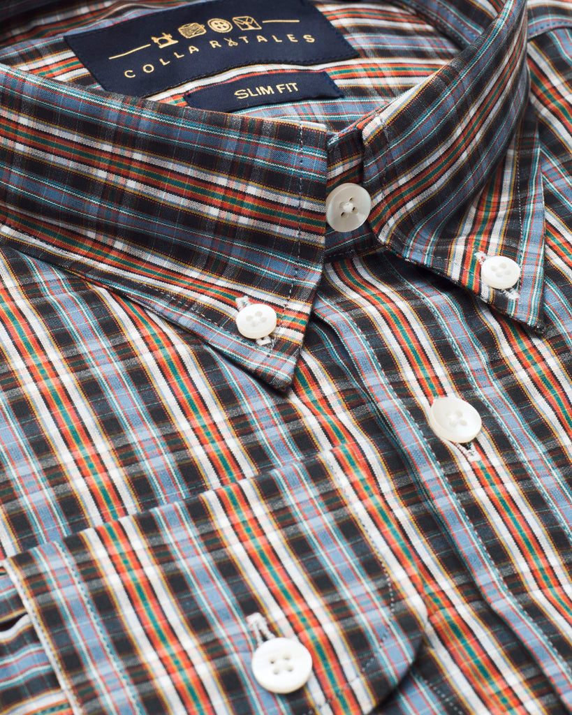 Orange and Blue Oxford Button Down Shirt ( L, XL & XXL Only )