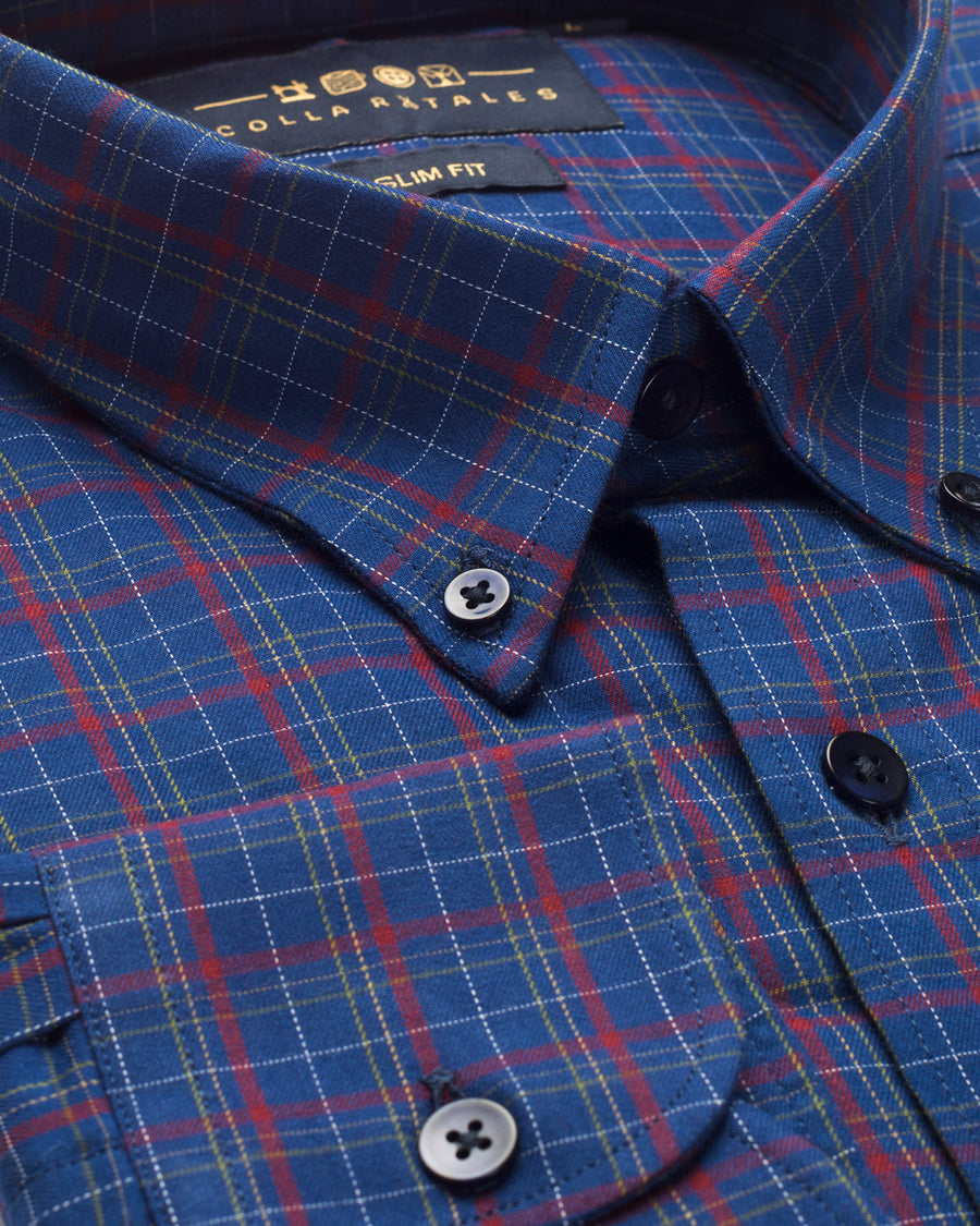 Blue & Red Tattersall Check Button Down Slim Fit Shirt