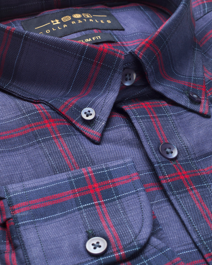 Red and Blue Check Oxford Button Down Shirt ( 40, 42 & 44 Regular Only )