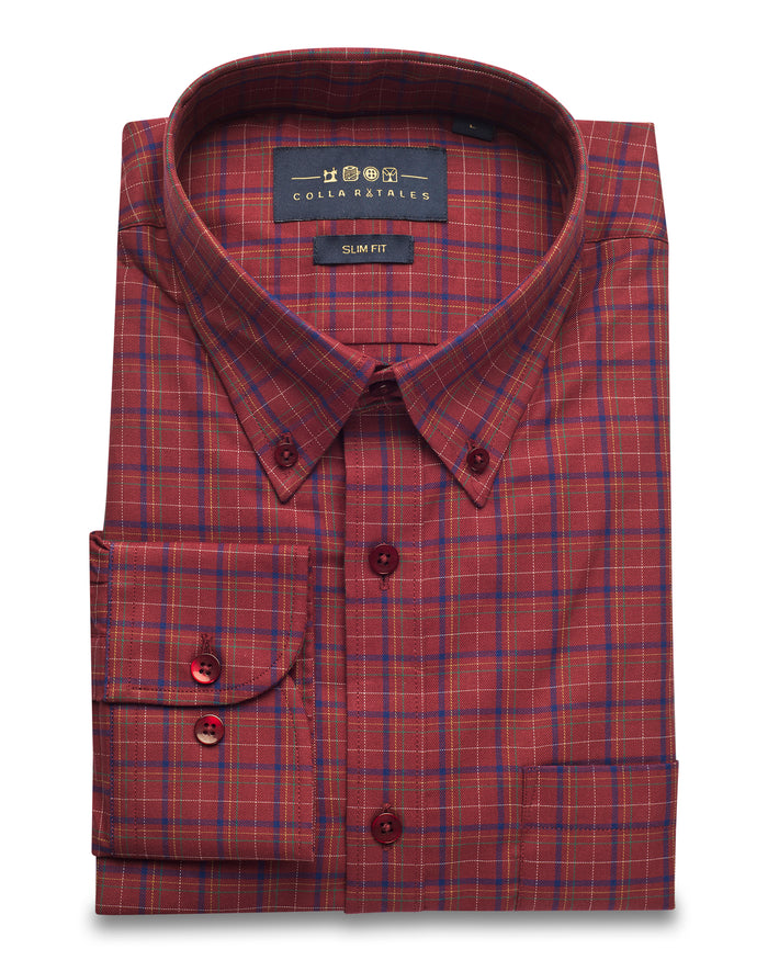 Red / Blue Check Oxford Button Down Shirt ( 40, 42 & 44 Regular Only )