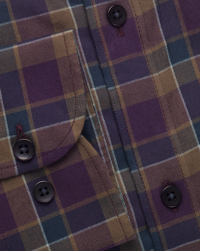 Purple Plaid Button Down Shirt ( 42 & 44 Regular Only )