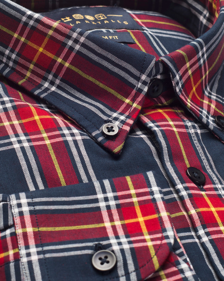 Red & Navy Plaid Button Down Slim Fit Shirt ( L , XL & XXL ONLY )