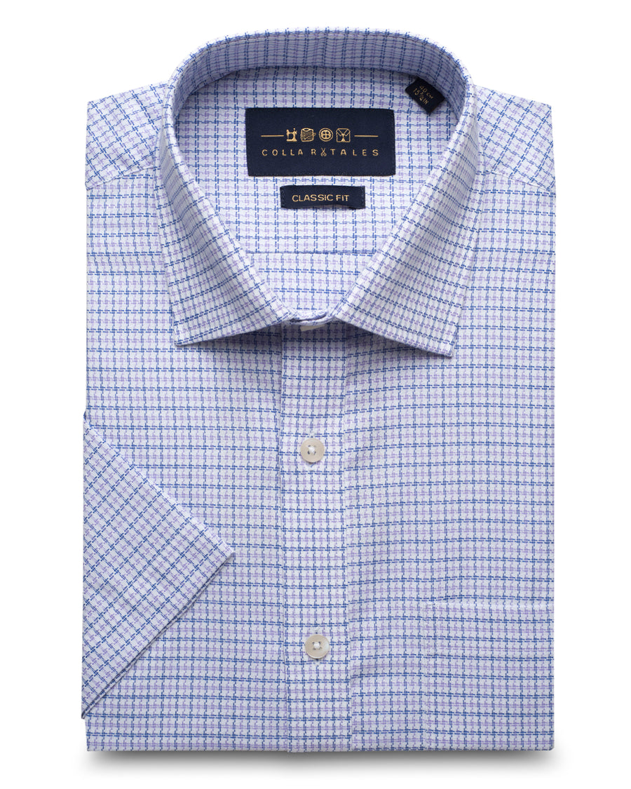 Blue & Lavender Half Sleeves Check Shirt