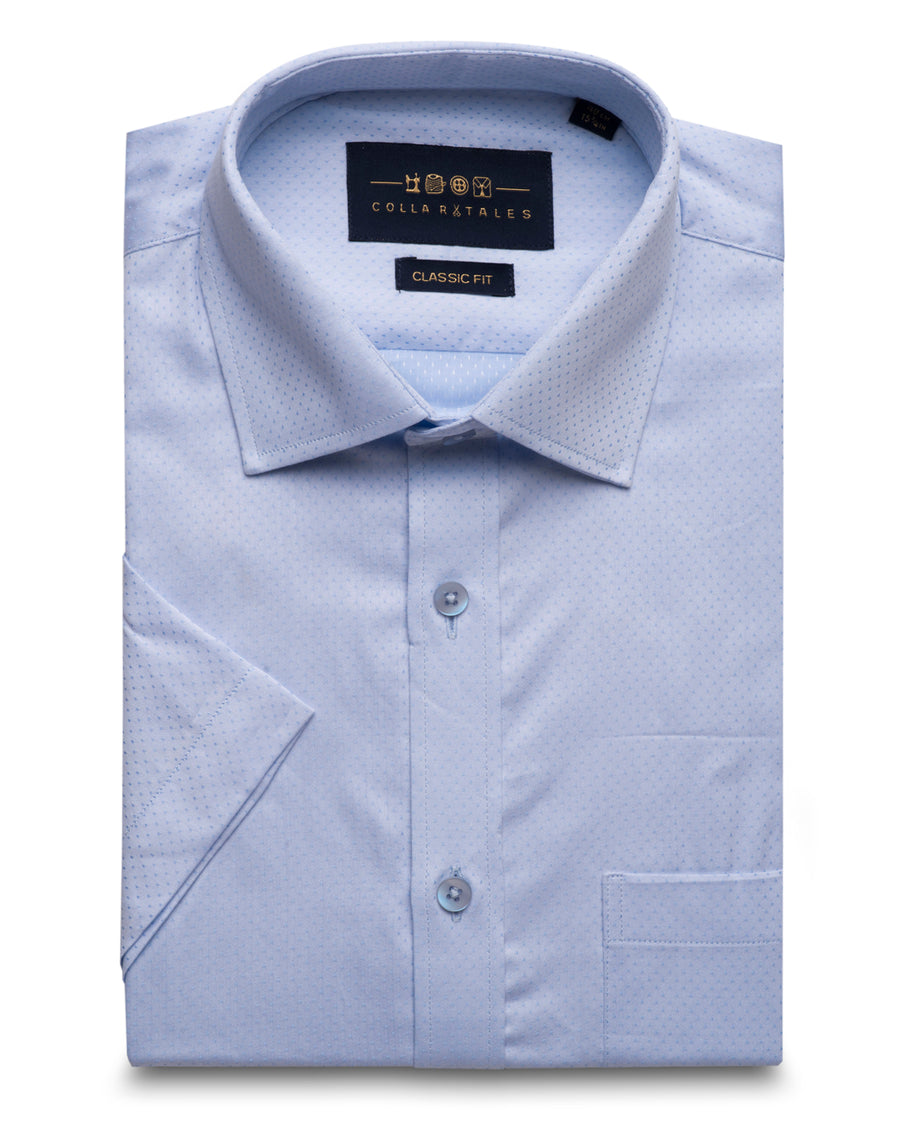Blue Dobby Half Sleeves Shirt