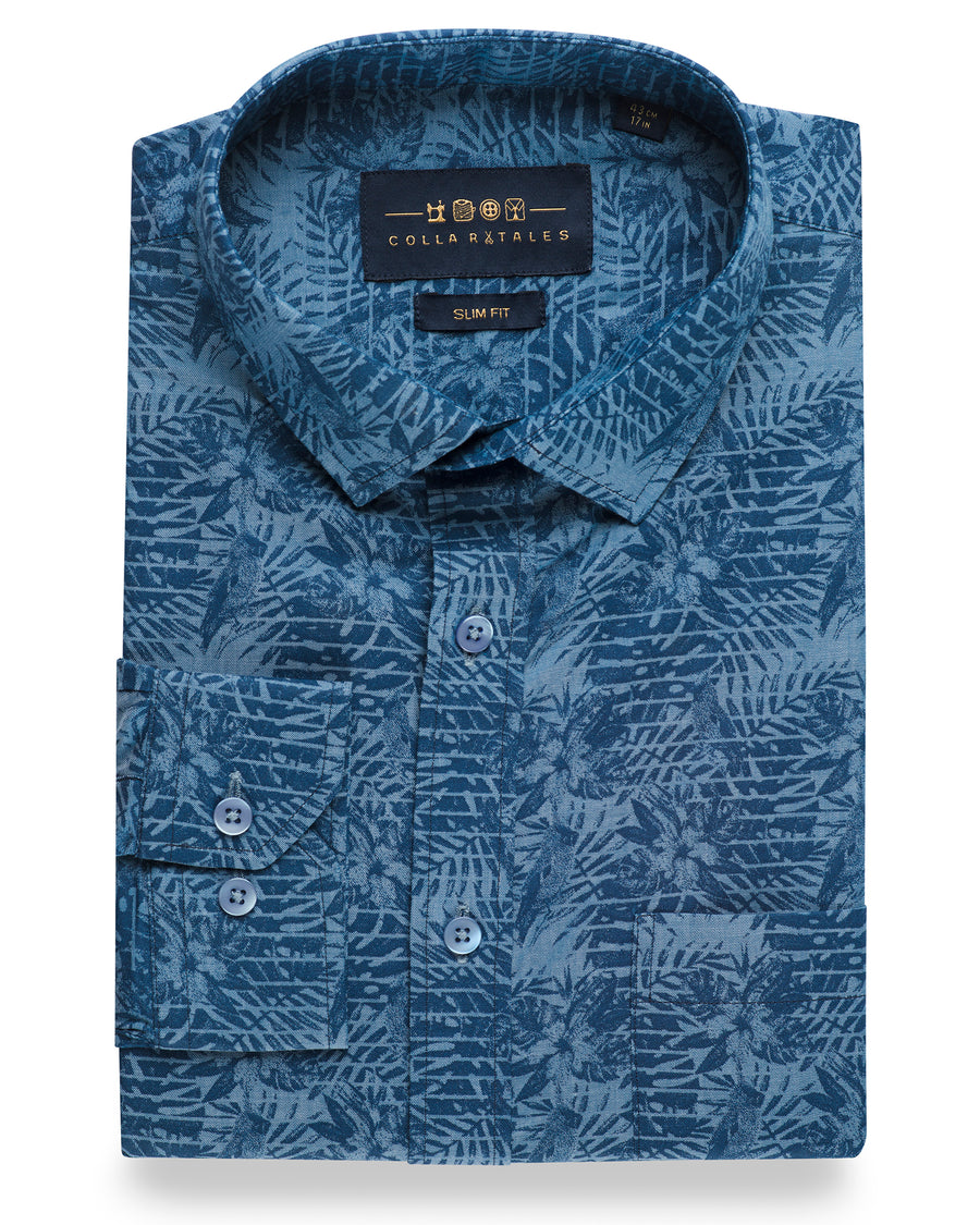 Blue Leaf Print Denim Shirt