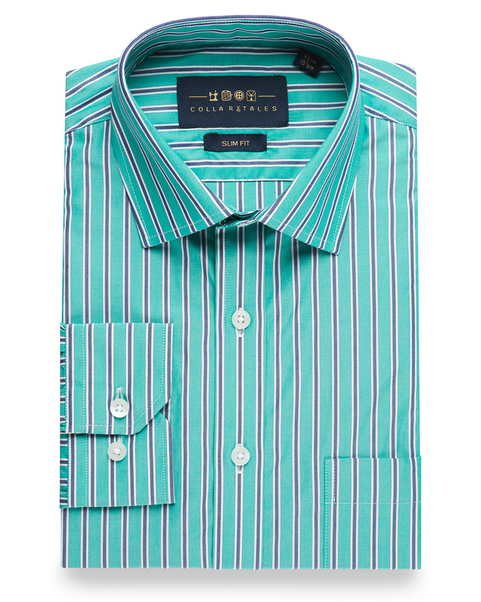 Green & Blue Stripes Shirt ( 42 Regular Only )