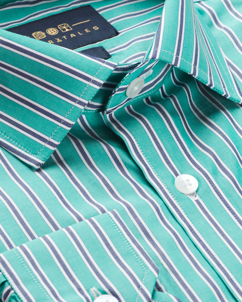 Green & Blue Stripes Shirt.