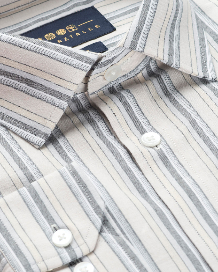 HERRINGBONE - GREY AND WHITE STRIPE