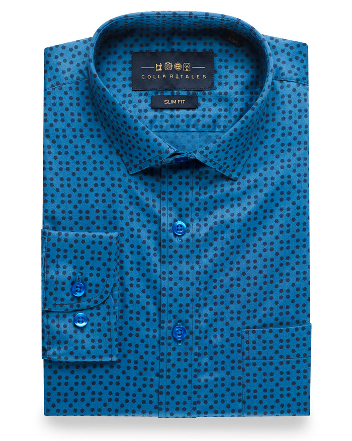 Pentagon Print Blue Shirt ( 42 Regular Only )