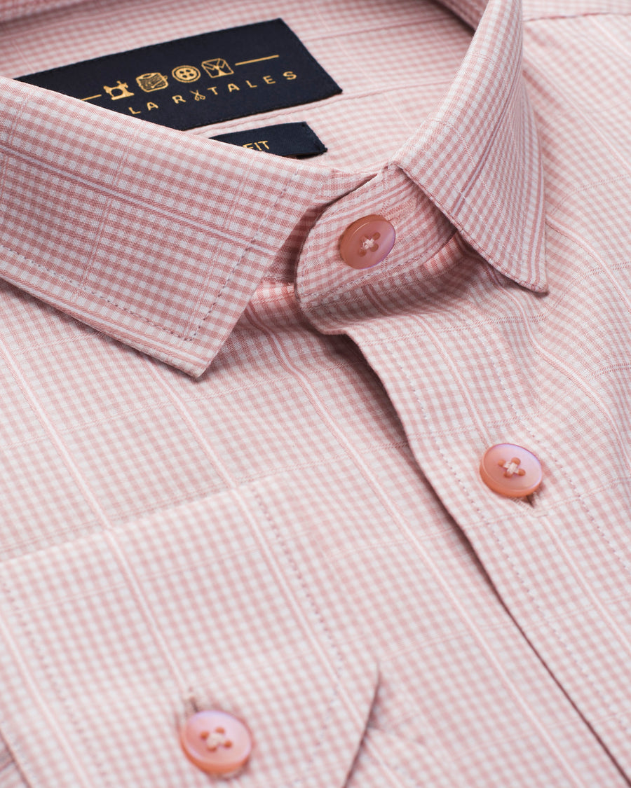 Salmon Structure Patterned Shirt