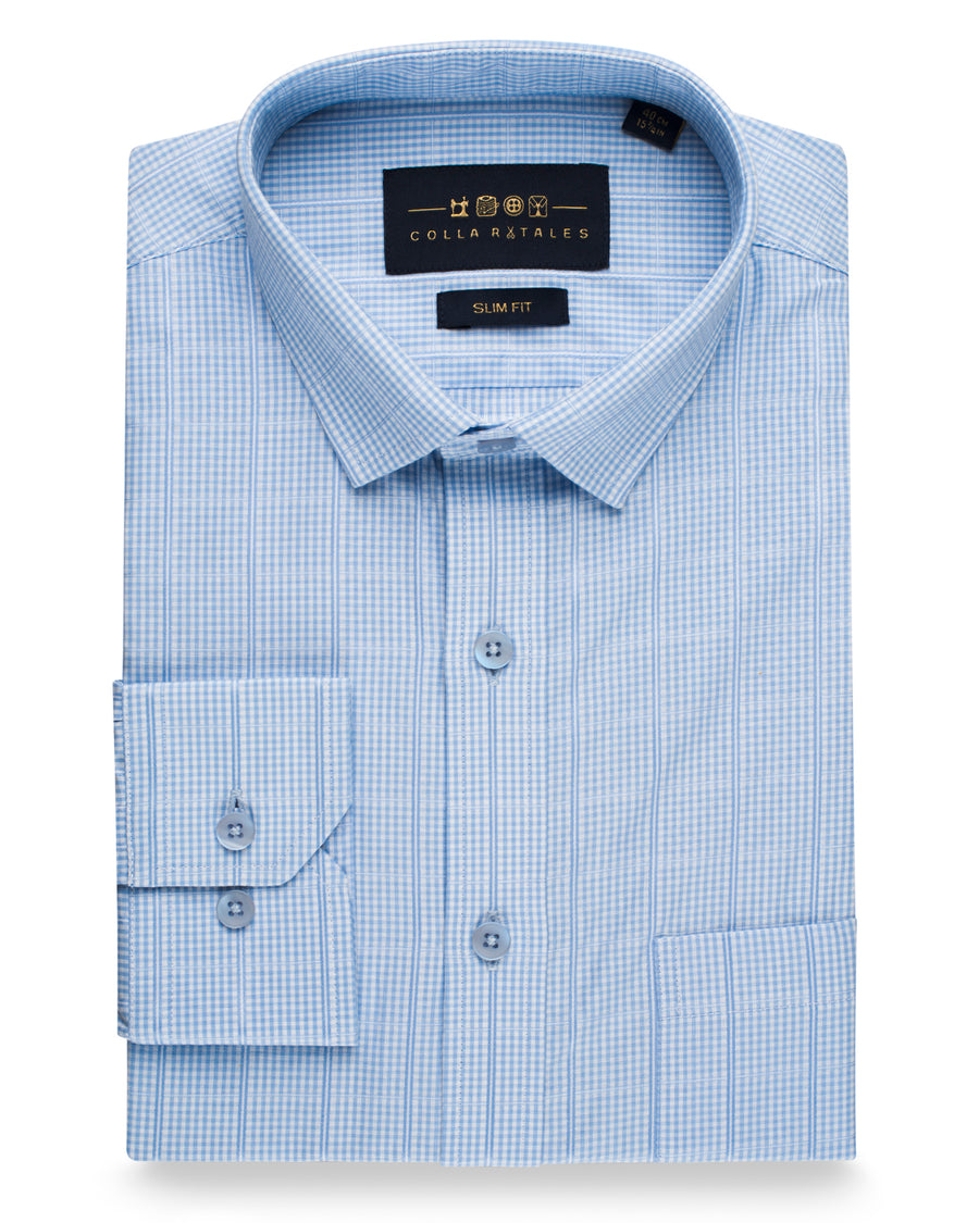 Blue Structure Patterned Shirt