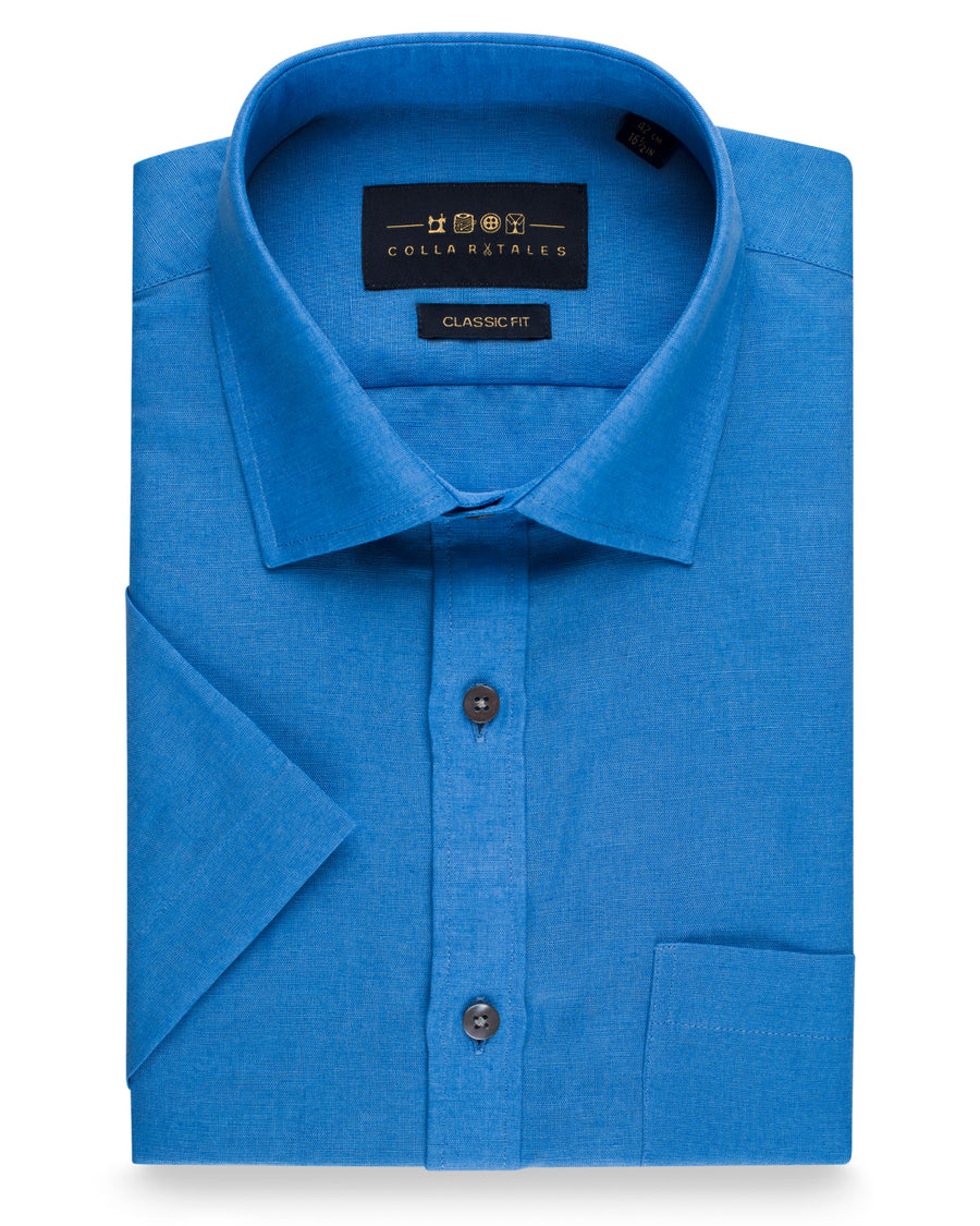 Cotton Linen Half Sleeve Shirt - Royal Blue