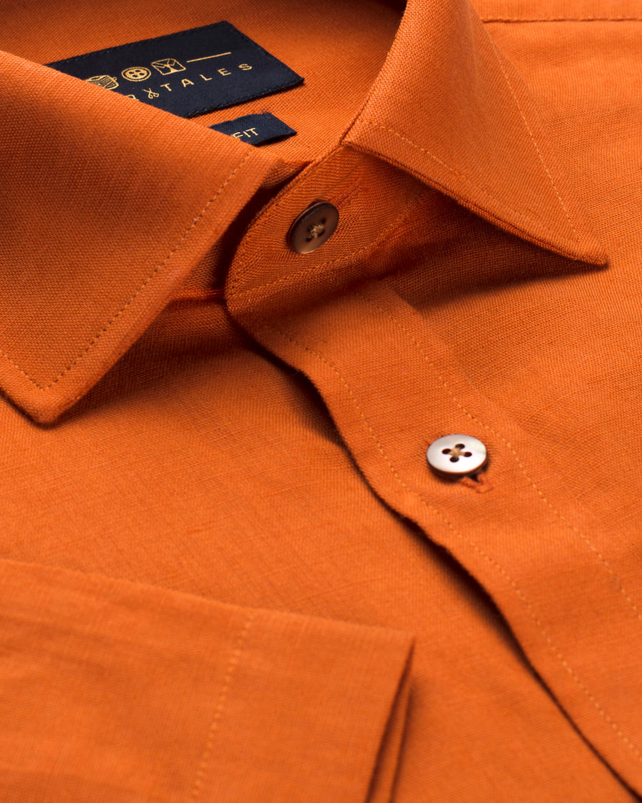 Cotton Linen Half Sleeve Shirt - Ginger