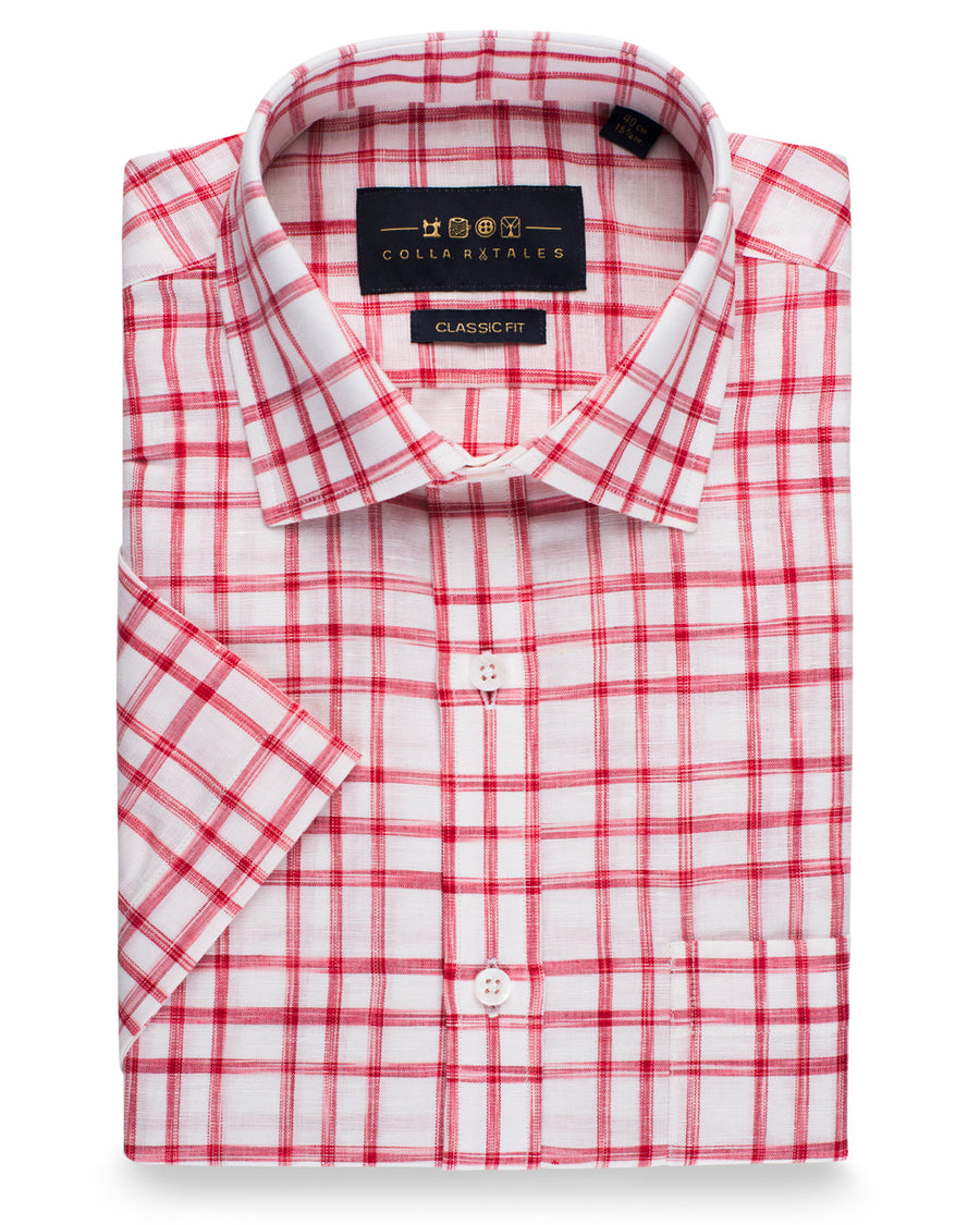 Cotton Linen Half Sleeve Shirt - White & Red Check