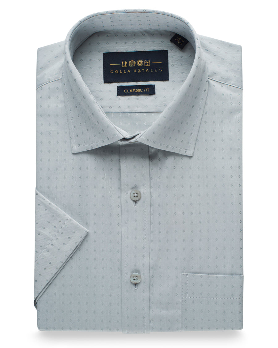 Cotton Half Sleeve Shirt - Silver Grey