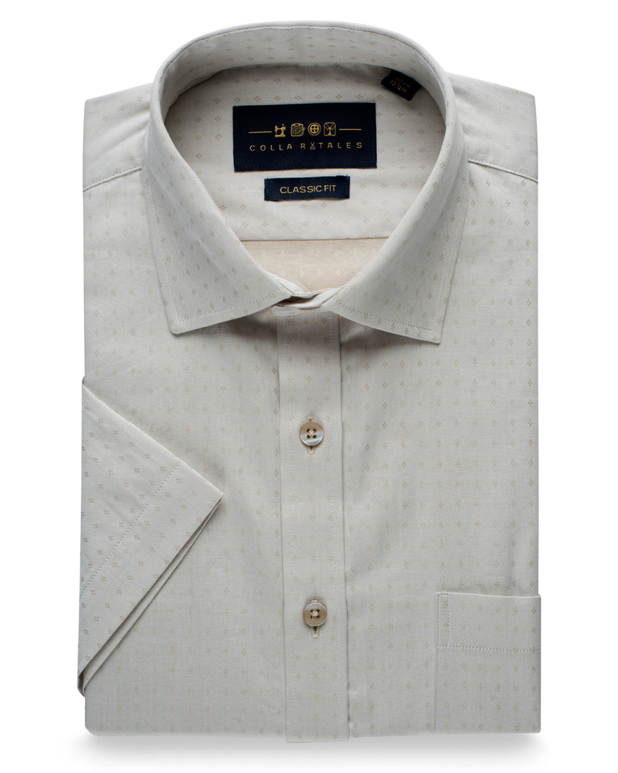 Cotton Half Sleeve Shirt - Beige