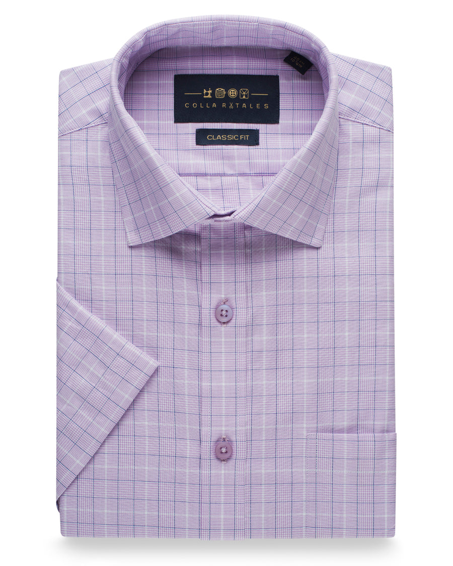 Cotton Half Sleeve Check Shirt - Lavender