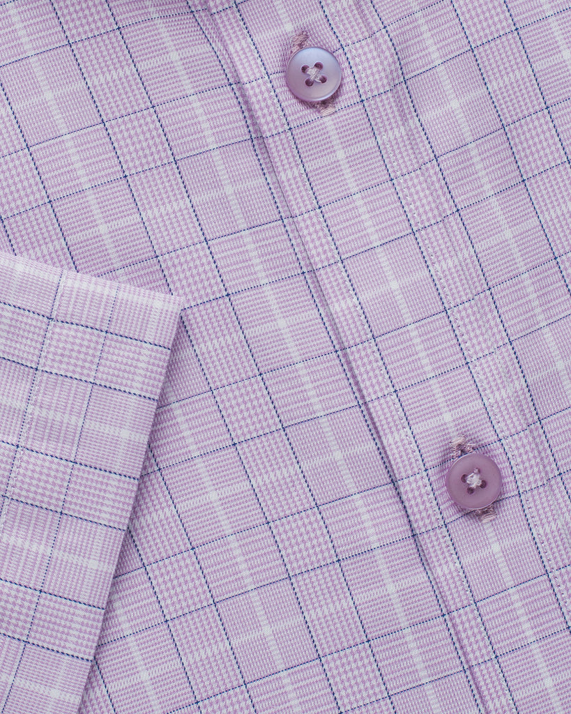 Cotton Half Sleeve Check Shirt - Lavender ( 44 Slim Only )