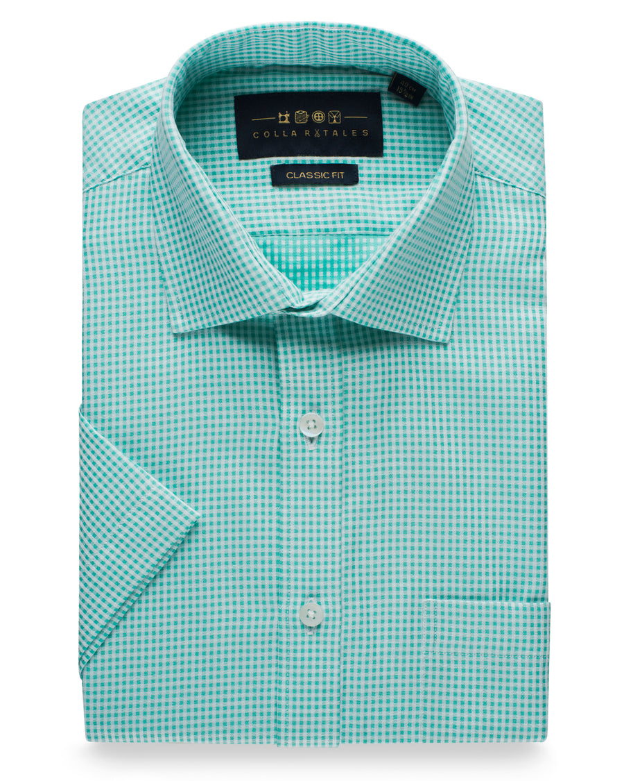 Gingham Cotton Half Sleeve Check Shirt - Mint Green