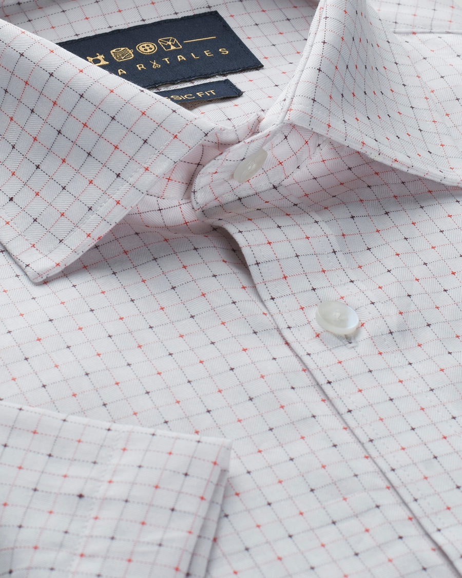 Cotton Half Sleeve Check Shirt - Off White