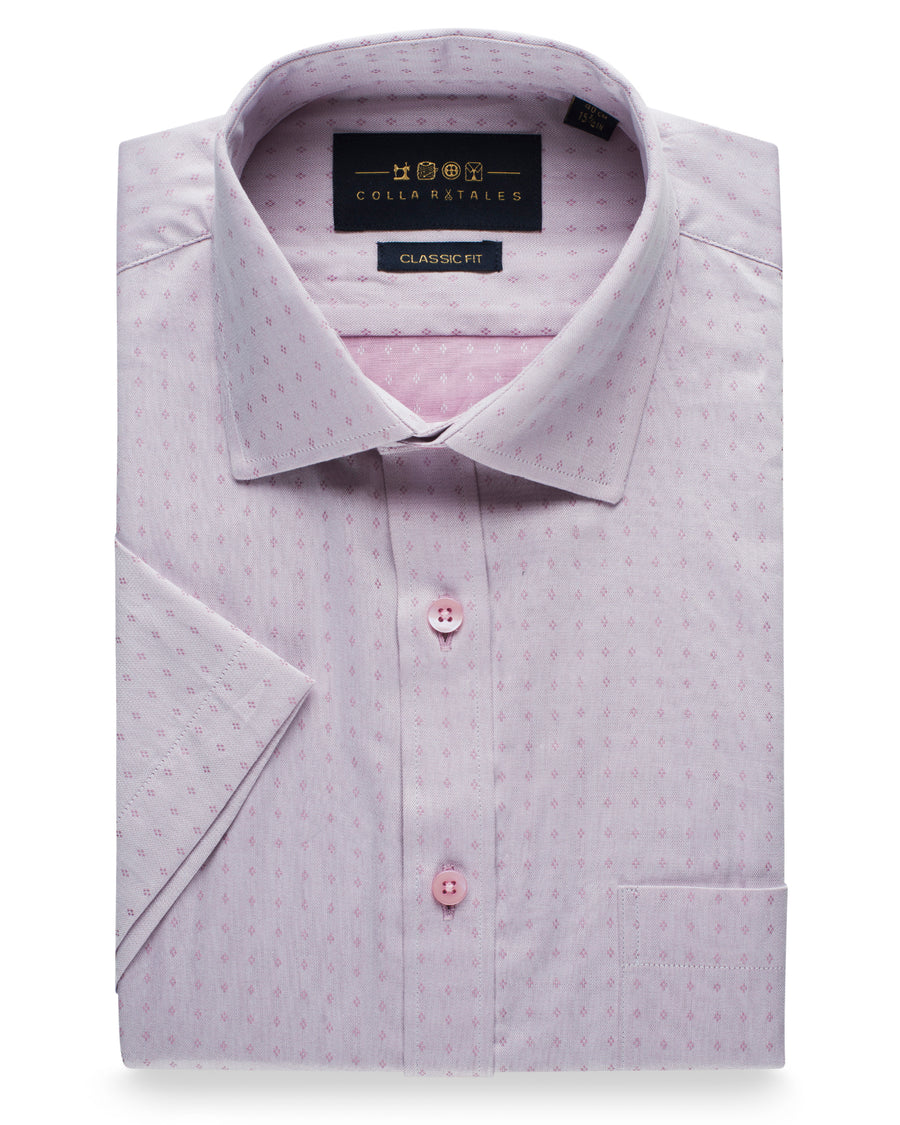 Cotton Half Sleeve Buta Shirt - Off Pink