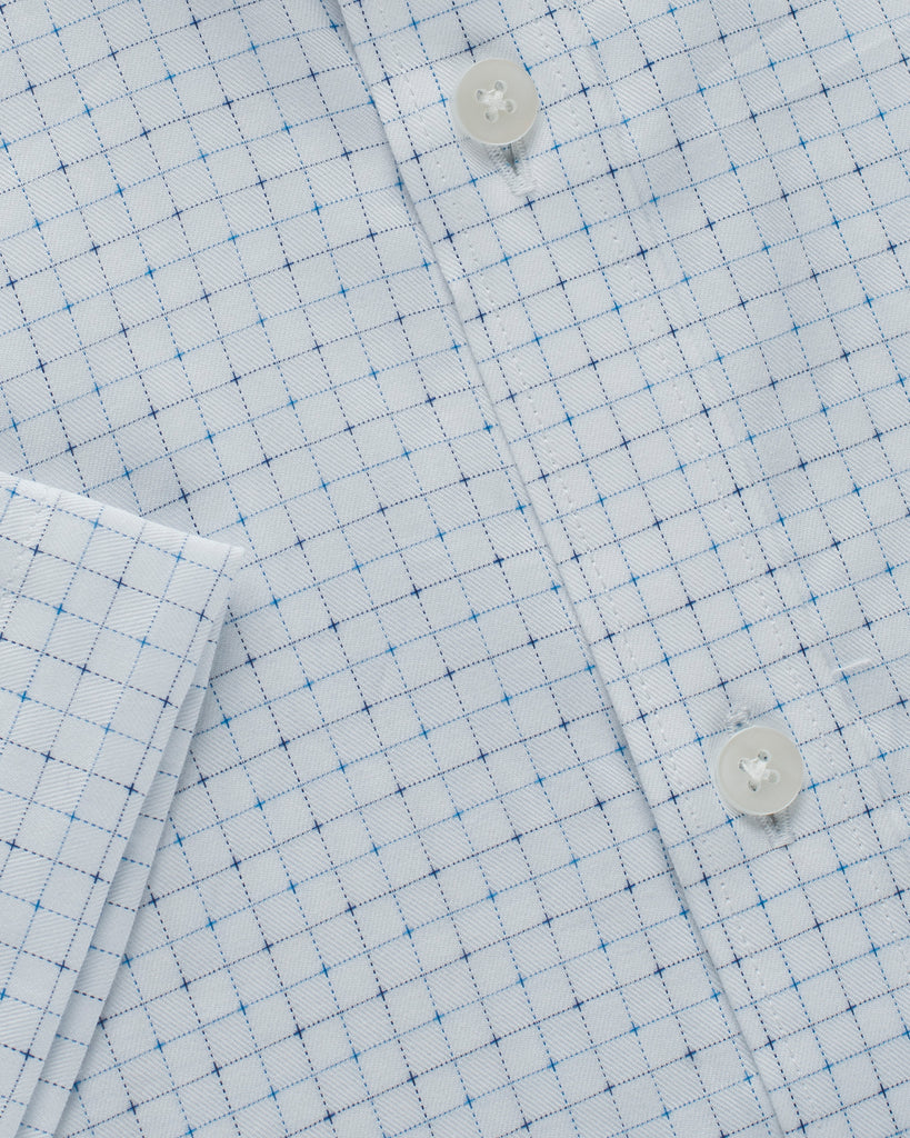 Cotton Half Sleeve Checkered Shirt - Off White / Blue